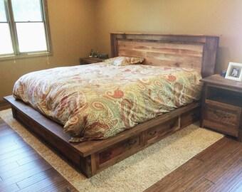 Reclaimed Wood Platform Bed + Storage Drawers