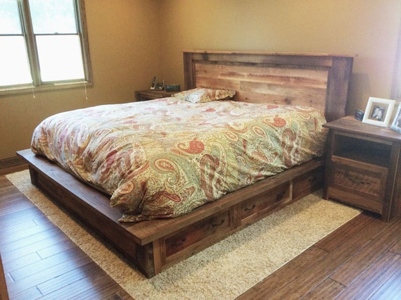 reclaimed wood platform bed frame with storage drawers. Black Bedroom Furniture Sets. Home Design Ideas