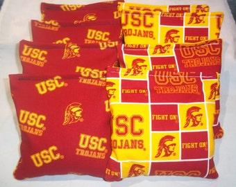 8 ACA Regulation Cornhole Bags - NCAA University of Southern California USC Trojans on 2 Different Prints