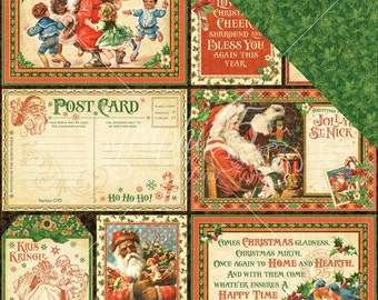 2 Sheets of ST. NICHOLAS Christmas Scrapbook Paper by Graphic 45 - Be Jolly!