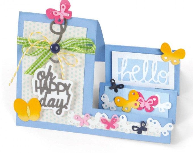 New! Sizzix Framelits Die Set 14PK - Card, Oh Happy Day Mini Step-Ups by Stephanie Barnard 660711
