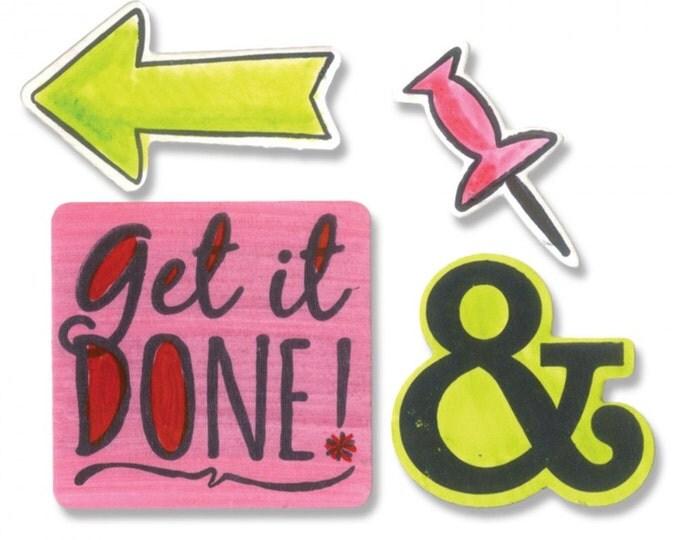 New! Sizzix Framelits Die Set 9PK w/Stamps - Get it Done by Katelyn Lizardi