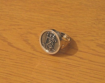 St Christopher Statement Ring Rhodium Plated Ring with Pewter Insert Adjustable Ring Mother Dad Safe Travel Gift