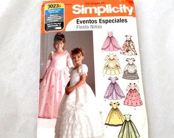 Simplicity 3023s Spanish Pattern En Espanol Eventos Especiales Fiesta Ninas Sewing Pattern Girls 5 6 7 8 Dress Wedding Flower Girl Princess