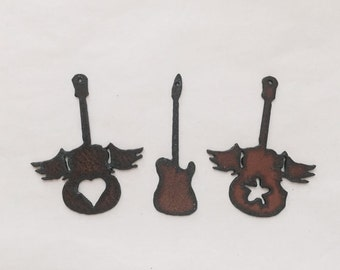 GUITARS (any 2) Pendant Charm Cutouts made of Rustic Rusty Rusted Recycled Metal