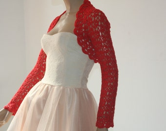 Weddings crochet bolero/ shrug red silk cotton