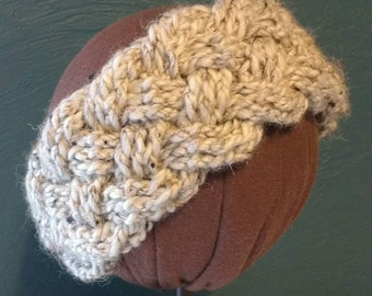 Crocheted wool ear warmer with vintage button.