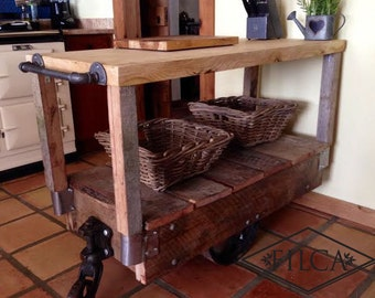 Globe Kitchen Island Steam Punk Railroad Cart Very Industrial/Rustic Butcher Block Top