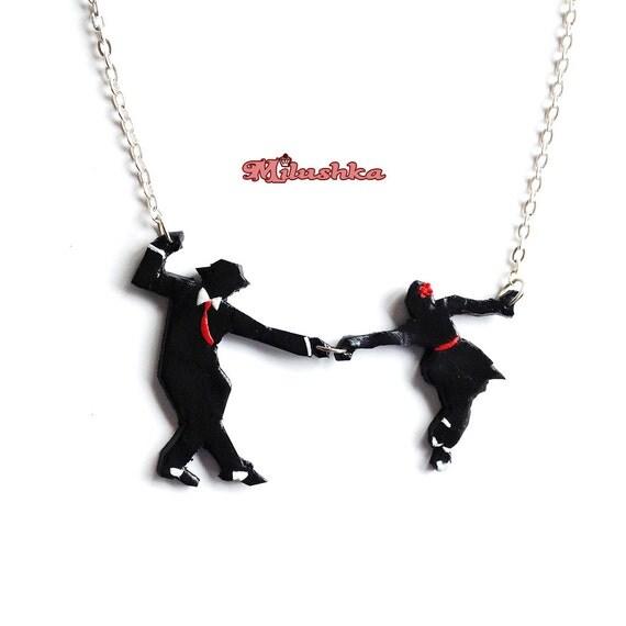 Lindy Hop Swing Jazz Dancers Short Necklace, Retro Style Dance Necklace by Milushka