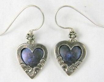 Cute 925 Sterling Silver Dangling Heart Earrings