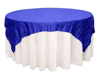 Beautiful YCC Linen   72 Inch Square Crinkle Taffeta Table Overlay Royal Blue |  Wedding Table Overlay