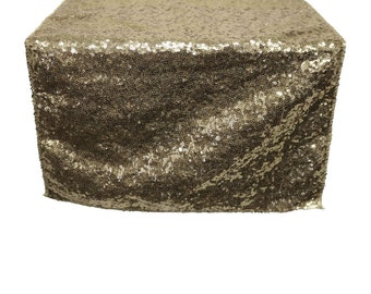 YCC Linen - 14 X 108 Inch Glitz Sequin Table Runner Champagne