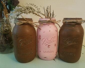 Distressed Brown, and Pink Mason Jar, Painted Mason Jar, Wedding, Baby Shower