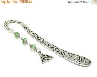 On Sale Celtic Style Bookmark Triquetra Charm Green Beaded Book Mark Celtic Knot