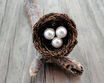 Ring , birds nest ring , nest ring, wire wrapped ring , beaded ring , nature jewelry,pearl nest ring, any size bird nest ring