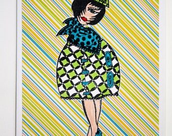 Friendship Greeting card, handmade, hand painted design, funky woman, steam punk, on a striped background, one of a kind card,