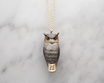 Merry, Great Horn Owl whistle pendent Necklace.
