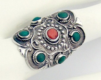 SaLe! sALe! Turquoise Coral Ring Sterling Silver