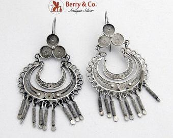 SaLe! sALe! Ornate Filigree Chandelier Earrings Sterling Silver