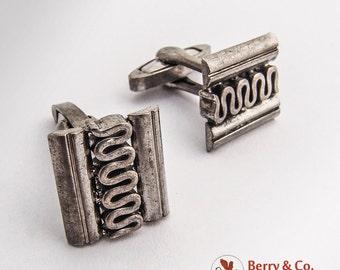 German Applied Wavy Pattern Cufflinks Sterling Silver