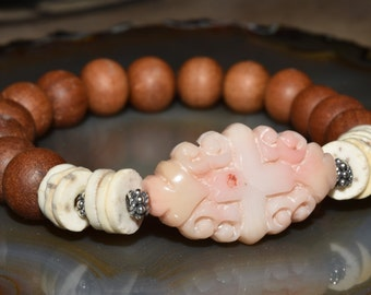 Carved Coral Stretch Bracelet Neutral Boho Bracelet Summer Fashion Sandalwood
