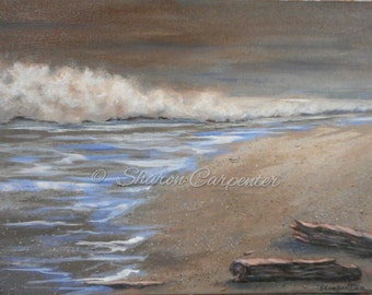 Ocean Sand Seascape - Original Canvas Painting