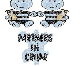 Partners In Crime Plastic Canvas Pattern Sign