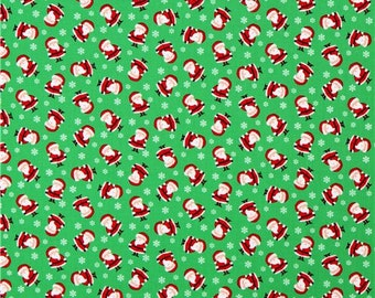 Timeless Treasures Flannel F250--1/2 yard, Mini Santa Claus on Green