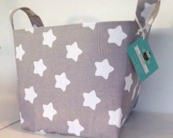 Stars Fabric Basket- Grey - Nappy Basket, Diaper Caddy, Nursery Storage, Playroom, Toy Storage, Nursery Decor