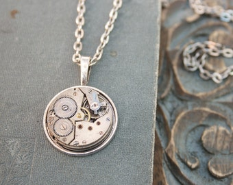Industrial Necklace with Gents Watch Movement Steel Charm Necklace Steam Punk Jewellery Steam Punk Bijoux Necklace Costume Jewelry