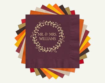 Fall Wedding Cocktail or Luncheon Napkins | Wreath Mr. & Mrs. Wedding Personalized Cocktail Or Luncheon Napkins. Select A Color And Foil.