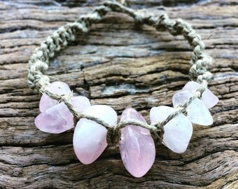Handmade Hemp Macrame Bracelet with Rose Quartz Beads