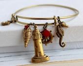 Seaside Escapes - antique brass expandable charm bangle bracelet, adjustable ocean themed bracelet - Ocean Whispers Collection