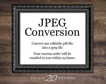 Convert ONE editable pdf file from Studio20Designs into a high resolution JPEG file