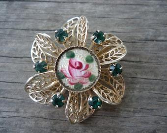 Enamel Hand Painted Rose Brooch