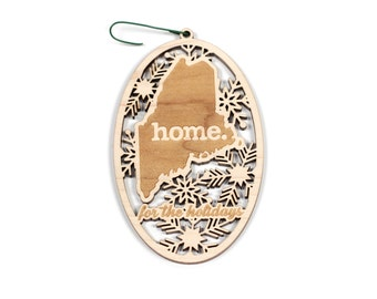 Engraved Maine Wood Christmas Ornament