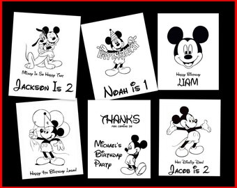 Mickey Mouse Personalized Coloring Book - Download PDF & Print  - Gift Or Birthday Party Favors