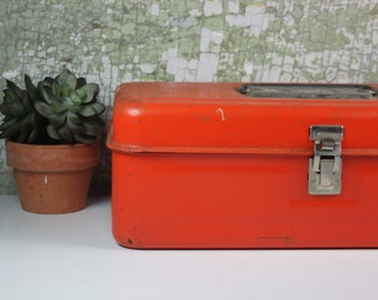 Vintage Orange Metal Tool or Tackle Box / Office Organization / Industrial