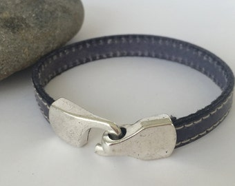Grey Stitched Leather Bracelet with Antique Silver Clasp, Unisex Leather Bracelet, Men's Leather Bracelet, Leather Bangle, Gray and Silver
