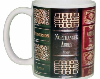 Jane Austen Novel Book Collection Coffee or Tea Mug