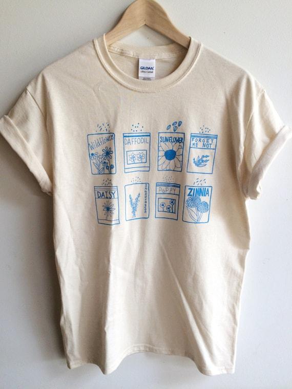 Garden shirt flower shirt screen printed t shirt clothing for Sustainable t shirt printing