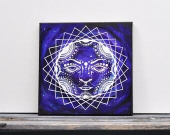 "Galaxy Sun Goddess Mixed Media Painting  12"" x 12"""