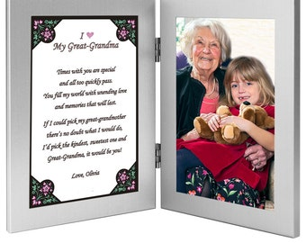 Great Grandmother Gift From Grandchild - Great Grandma Frame with Sweet Poem for Birthday or Mother's Day - Add Photo (70-210)