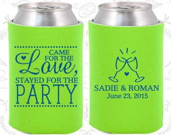 Neon Green Wedding, Can Coolers, Neon Green Wedding Favors, Neon Green Wedding Gift, Neon Green Wedding Decorations (404)