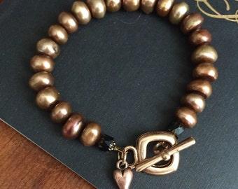 Copper Freshwater Pearl Bracelet - Rose Gold Toggle Closure