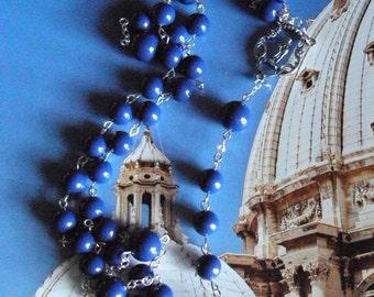 Sterling Silver Catholic Rosary with Swaroski Dark Lapis Pearls