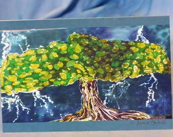 Greeting Card with Original Batik Artwork Lightning Tree