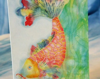 Blank Greeting Card with Original Batik Artwork Print Koi Fish
