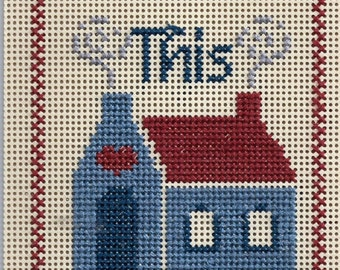 """Door Knob Sign """"This House Is Allergic To Smoke"""" - Handmade - Cross Stitched"""