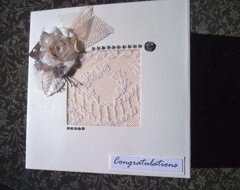 Wedding Congratulations Card, Hand Made Wedding Card, Cream Wedding Card